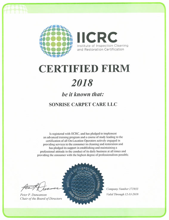 Sonrise Carpet Care IICRC 2018 Certification