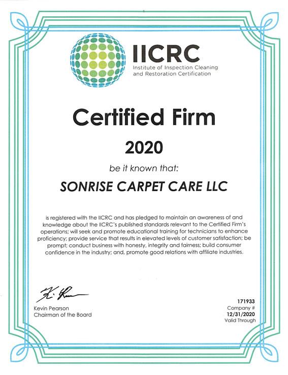 Sonrise Carpet Care IICRC 2020 Certification